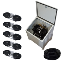 Savio2 Aeration System 5 (Includes Ground Enclosure) with 1.5HP Air Pump , Double Diffusers (x5), 100' Weighted Tubing (x5)