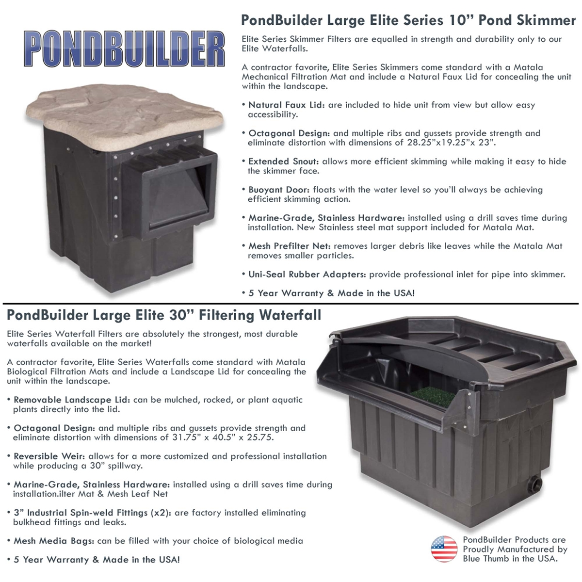 20 x 30 Foot EPDM Liner HALF OFF PONDS XLP6 with 30 Waterfall PondBuilder Elite 6100 Water Garden and Koi Pond Kit