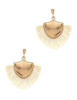 Shield Shape Tassel Earrings