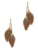 Mini Double Tassel Post Earrings