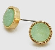 Simulated Druzy Round Shape Stud Earrings-Mint