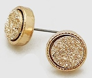 Simulated Druzy Round Shape Stud Earrings-Rose Gold