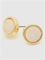 Simulated Druzy Round Shape Stud Earrings-White Aurora