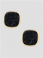 Simulated Druzy Round Square Shape Stud Earrings-Black