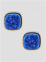 Simulated Druzy Round Square Shape Stud Earrings-Blue