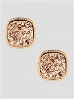 Simulated Druzy Round Square Shape Stud Earrings-Rose Gold
