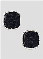 Simulated Druzy Round Square Shape Stud Earrings-SL\Black