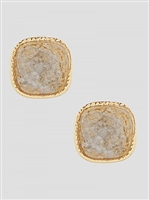 Simulated Druzy Round Square Shape Stud Earrings-Silver