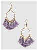 Thread Tassels Marquee Shape Drop Earrings-Lilac