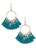 Open Round Thread Tassels Drop Earrings-Turquoise
