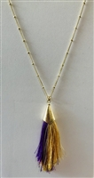 Thin Tassel Purple & Gold Necklace