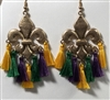 Fleur de Lis Tassel Earrings- Mardi Gras
