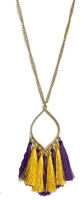 Marquis Shape LSU Tassel Necklace