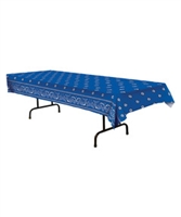 Yee Haw VBS Blue Bandana Table Cover. Save 50%.