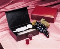 Communion-Remembrance Portable-Maroon LeatherLook (25 Cups)