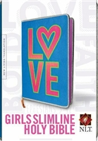 Girls Slimline Bible NLT by Tyndale. Hardcover, Blue/Neon. Save 50%