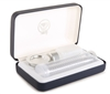 Portable Communion Set. Disposable Cup Set with White Lining & Blue Case by Artistic. RW18