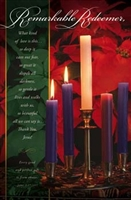 "Pkg./100 Remarkable Redeemer Advent Christmas Bulletins. Large (8 1/2""x14"").  Save 50%."