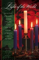 "Pkg./100 Light of the World Christmas Advent Bulletins. Large (8 1/2""x14"").  Save 50%."