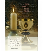 Pkg./100 Communion Bulletins-Gold Cup w/Candle.  Save 50%.