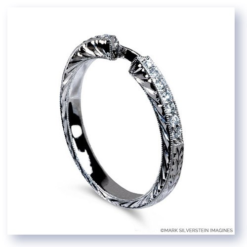 Mark Silverstein Imagines Engraved 18K White Gold and White Diamond Half Eternity Band