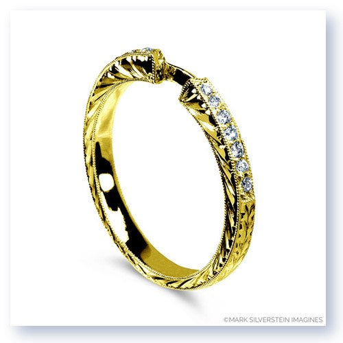 Mark Silverstein Imagines Engraved 18K Yellow Gold and White Diamond Half Eternity Band