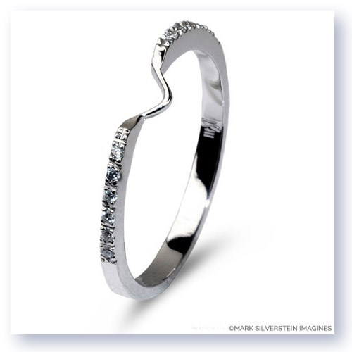 Mark Silverstein Imagines Polished 18K White Gold Notched Half-Eternity Wedding Band