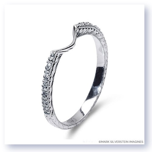 Mark Silverstein Imagines Hand Engraved 18K White Gold Notched Half-Eternity Wedding Band
