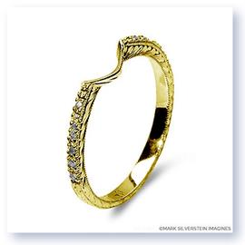 Mark Silverstein Imagines Hand Engraved 18K Yellow Gold Notched Half-Eternity Wedding Band
