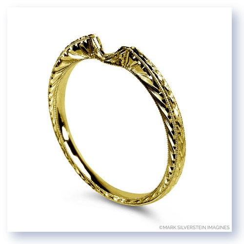 Mark Silverstein Imagines Hand Engraved 18K Yellow Gold Notched Wedding Band