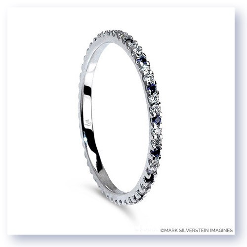 Mark Silverstein Imagines Thin 18K White Gold Sapphire and Diamond Eternity Band
