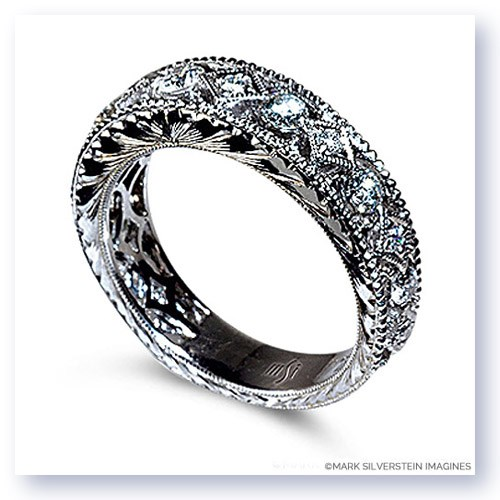 Mark Silverstein Imagines Engraved 18K White Gold Diamond Wedding Band