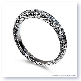 Mark Silverstein Imagines Engraved Thin 18K White Gold Diamond Wedding Band