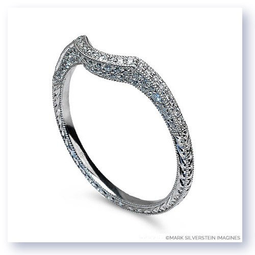 Mark Silverstein Imagines Engraved Thin 18K White Gold Diamond Curved Notch Wedding Band