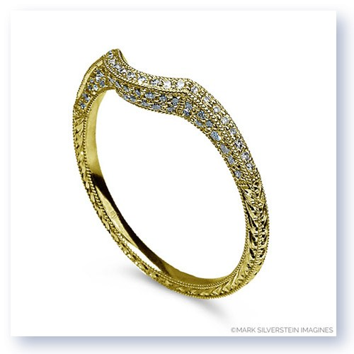Mark Silverstein Imagines Engraved Thin 18K Yellow Gold Diamond Curved Notch Wedding Band