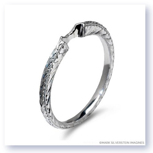 Mark Silverstein Imagines Engraved Tapered 18K White Gold Notched Wedding Band