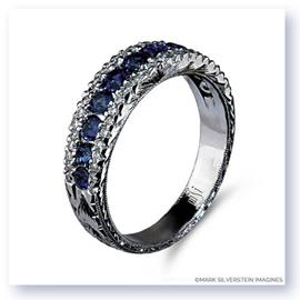 Mark Silverstein Imagines Engraved 18K White Gold Sapphire and Diamond Wedding Band