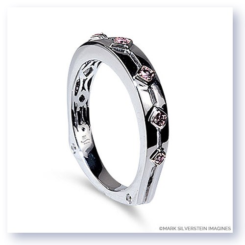 Mark Silverstein Imagines Polished Two Tone 18K White and Rose Gold Euro Style Pink Diamond Wedding Band