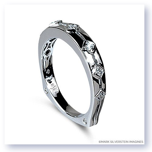 Mark Silverstein Imagines Polished 18K White Gold Euro Style Diamond Wedding Band
