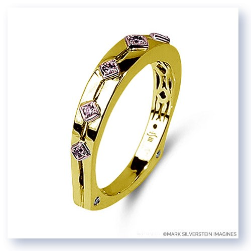 Mark Silverstein Imagines Polished Two Tone 18K Yellow and Rose Gold Euro Style Pink Diamond Wedding Band