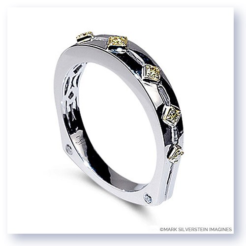 Mark Silverstein Imagines Polished Two Tone 18K White and Yellow Gold Euro Style Yellow Diamond Wedding Band