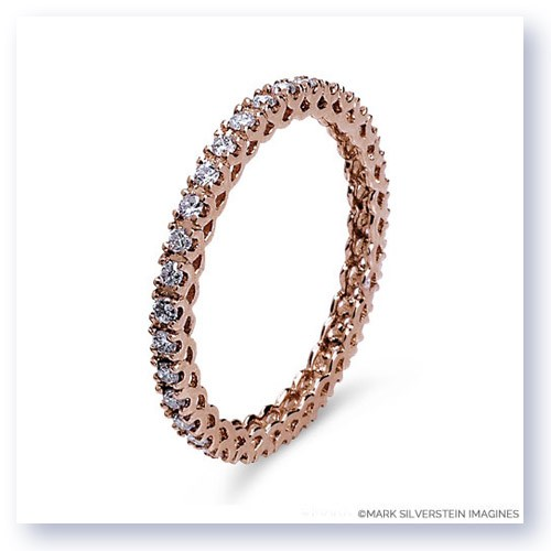 Mark Silverstein Imagines Stackable Polished Thin 18K Rose Gold Pink Diamond Eternity Ring