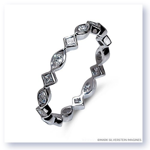 Mark Silverstein Imagines Marquise and Diamond Shaped Stackable Diamond Fashion Ring in 18K White Gold