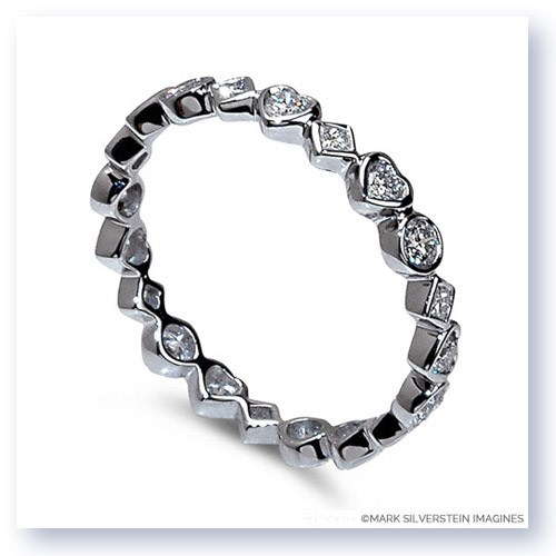 Mark Silverstein Imagines Marquise, Heart and Diamond Shaped Stackable Diamond Fashion Ring in 18K White Gold
