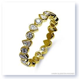 Mark Silverstein Imagines Round and Pear Shaped Stackable 18K Yellow Gold Diamond Fashion Ring
