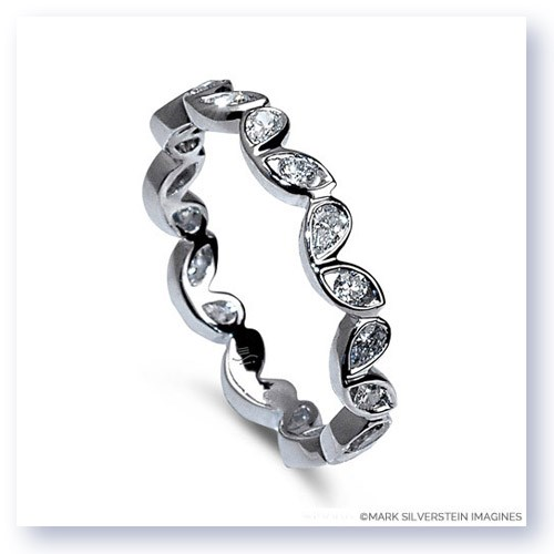 Mark Silverstein Imagines Round and Pear Shaped End on End Stackable 18K White Gold Diamond Fashion Ring