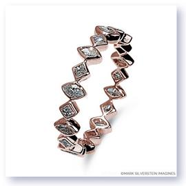 Mark Silverstein Imagines Marquise and Round Diamond Edgy Polished 18K Rose Gold Stackable Fashion Ring