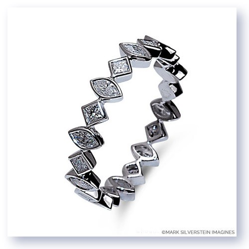 Mark Silverstein Imagines Marquise and Round Diamond Edgy Polished 18K White Gold Stackable Fashion Ring