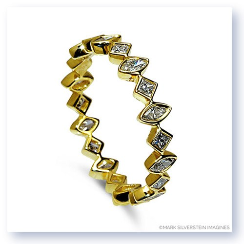 Mark Silverstein Imagines Marquise and Round Diamond Edgy Polished 18K Yellow Gold Stackable Fashion Ring