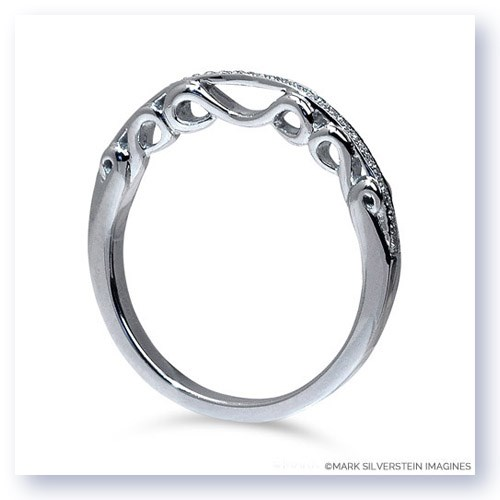 Mark Silverstein Imagines Polished 18K White Gold Three Wave Filigree and Diamond Wedding Band
